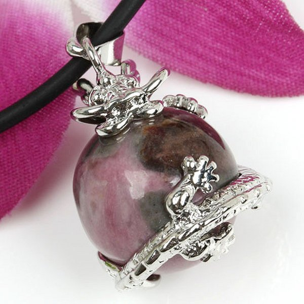 Kraft-beads Silver Plated Chinese Dragon Wrap Rhodonite Stone Ball Beads Vintage Pendant Charm Jewelry