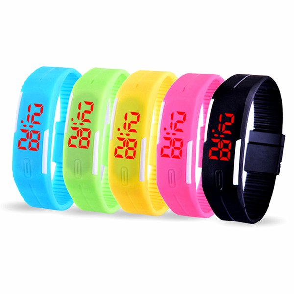 Sports Rectangle Led Digital Display Touch Screen Watches Candy Rubber Belt Silicone Bracelets Wrist Watches Led Touch Wristwatch