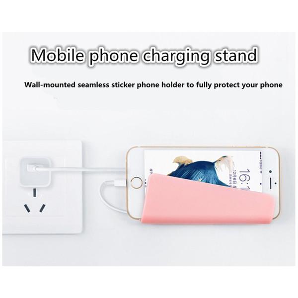 Evrensel Duvara Monte Telefon Tutucu Şarj Standı ile Braketi Yapışkan iPhone 8X7 Artı Samsung Galaxy Huawei Tablet perakende paketi