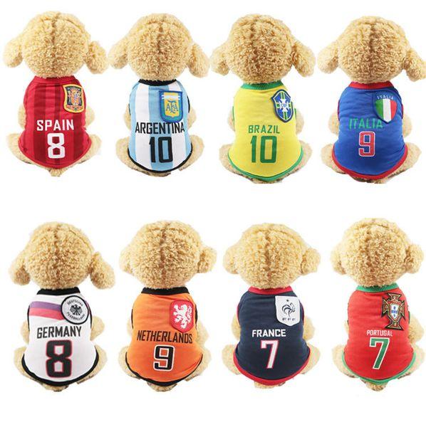 8 World Cup Patterns Dog Clothes Haustiere Hunde Breathful Baumwoll-T-Shirt mit rundem Hundehalsband Heimtierbedarf Hundezubehör