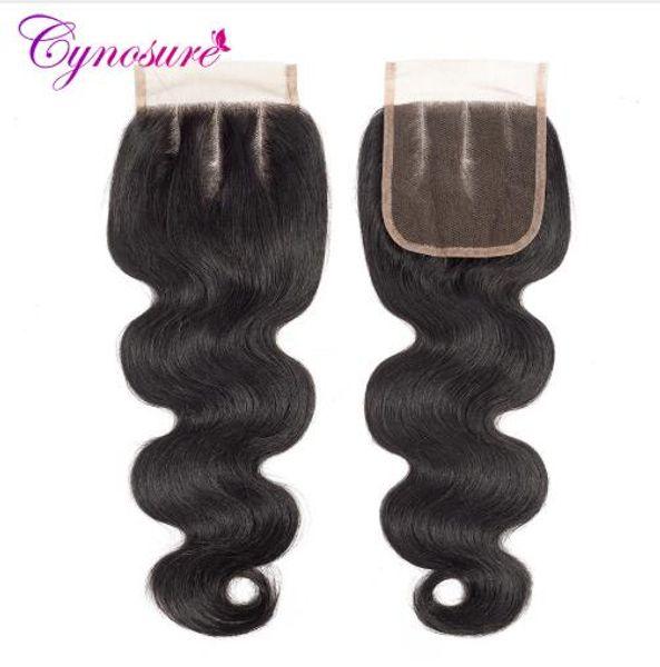 Chiusura brasiliana del merletto dell'onda del corpo Chiusura naturale dei capelli di colore 100% 4''x 4 '' trame dei capelli non-remy