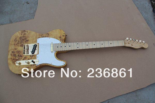 HOT gros qualité supérieure Telecaster bois naturel jaune doré guitare électrique avec accessoires de matériel d'or