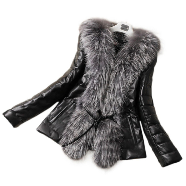 Fall Winter Style Pu Leather Stitching Faux  Fur Coats Plus Size Slim Outerwear Womens Man-Made Fur Outwears Fur Jackets