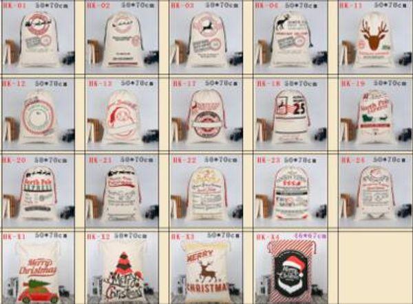 2018 Christmas Gift Bags Large Organic Heavy Canvas Bag Santa Sack Drawstring Bag With Reindeers Santa Claus Sack Bags For Kids Lin4295 Cellophane