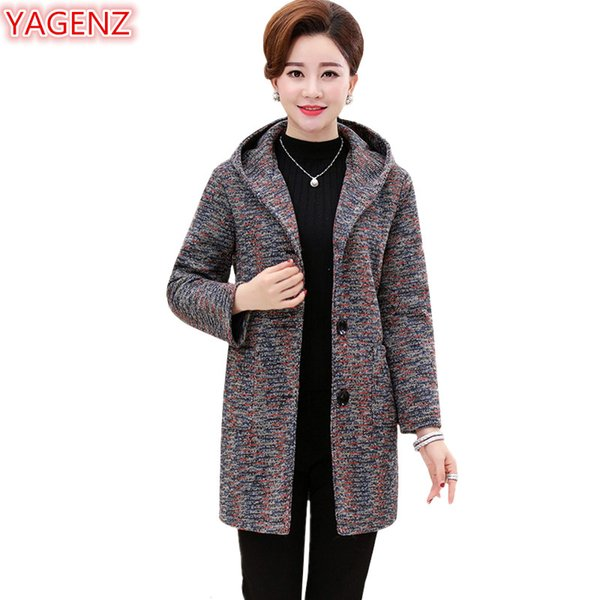 YAGENZ Autumn Coat Woman Hooded Coat Plus size Long Single-breasted Women clothing Top Middle-aged mother Woolen Jacket 626