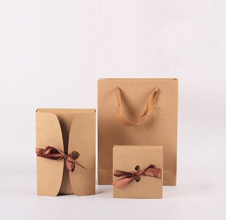 Baking kraft paper box Bow tie rope gift box Snack cake packing boxes17.5*11.5*5cm