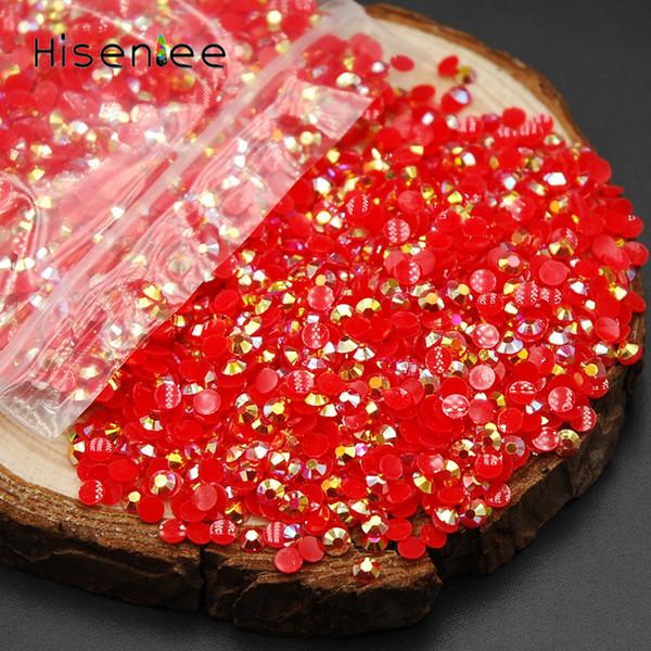French Nail Art 2mm Gelée Rouge AB Cristal Flatback Strass Perles 3D Manucure Conseils Pas Clous Hotfix Utiliser Colle Décoration 2000pcs