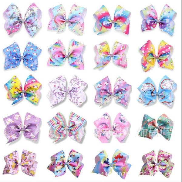 20pcs bébé enfants grand 8 pouces arc arc en ciel licorne bandeaux avec diamant enfants Halloween cosplay épingle à cheveux barrettes cheveux accessoires