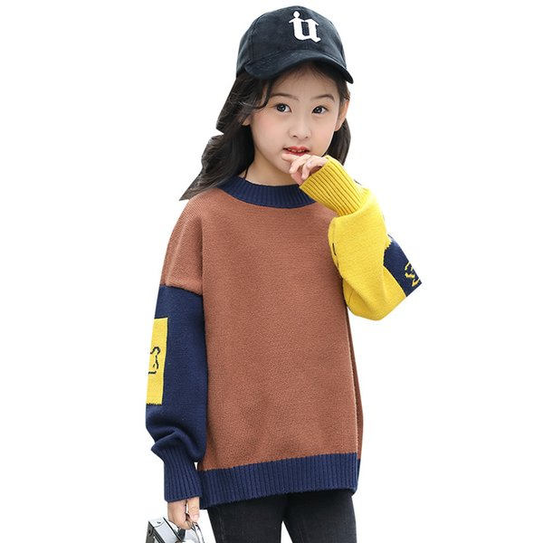 New Arrival Girls Clothes Fashion Pullover Sweater Autumn Winter Big Girl knitted Sweaters Patchwork Long Sleeve Sweaters Kids Clothing