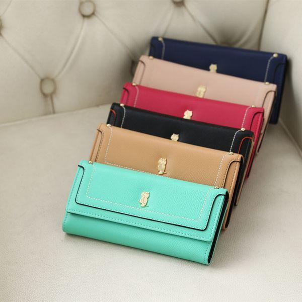 Owl pattern Korean version of short purse ladies hand bag wallet pu leather purse wholesale
