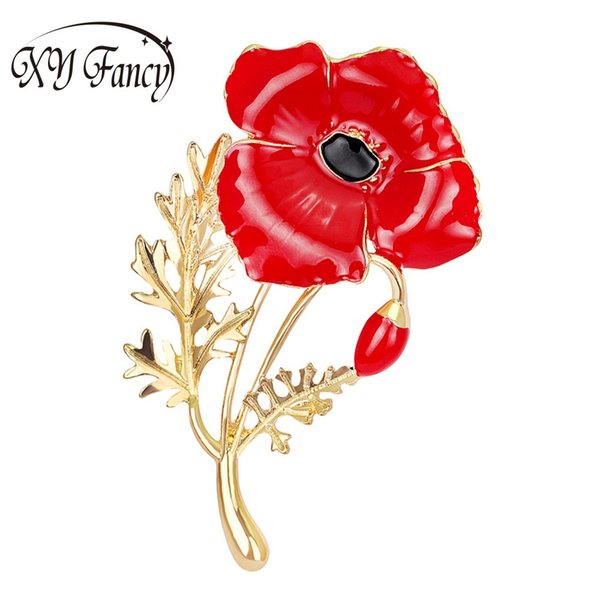 Sangdo Le più nuove donne spille Red Poppy Flower Corsage Moda pittura a olio spille ZK25