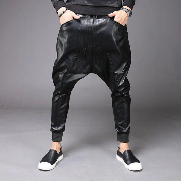 Yeni Moda Erkek Punk Moto Bisiklet PU Faux Deri Rahat Harem Bırak Crotch Pantolon Kot Sokak Dans DJ Kaya Slacks Pantolon M-2XL