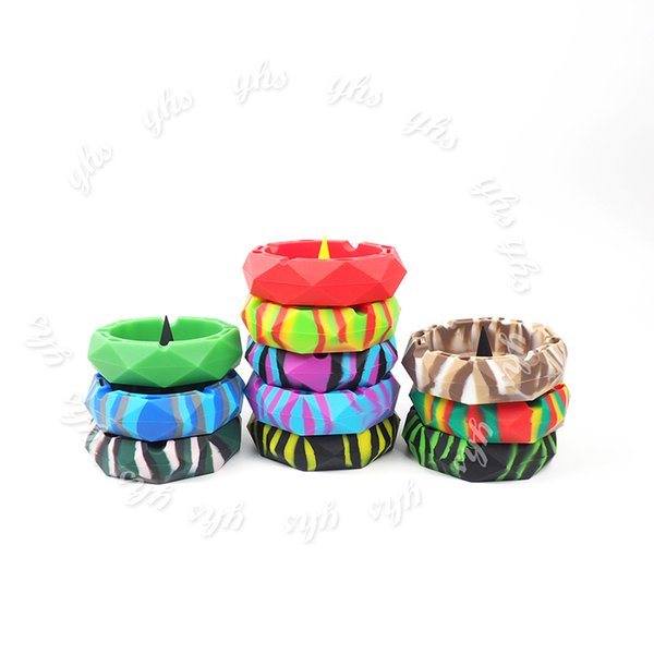 Cendrier en silicone de forme circulaire de coupe de diamant Plus de choix de couleur Cendriers colorés, cadeaux Décoration de bureau à domicile Livraison gratuite