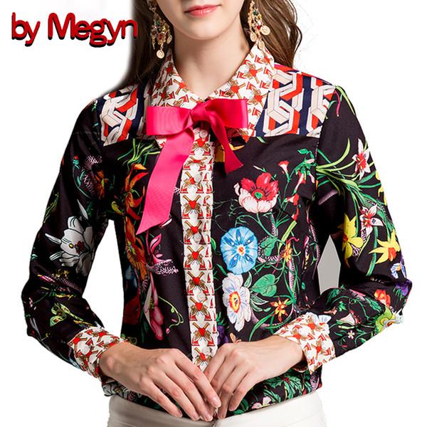 by Megyn women shirts 2017 runway fashion long sleeve snake print bow necktie shirt women blouses plus size 3xl female blusas