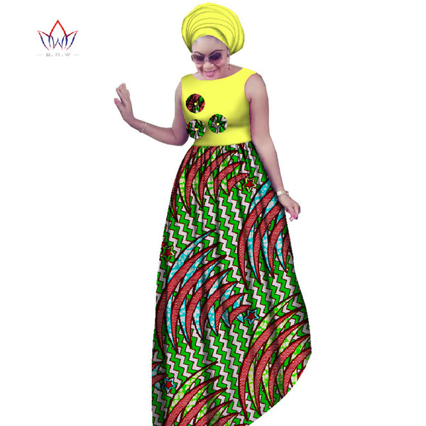2017 BRW African Plus Size Dresses For Women 6XL Dashiki Afrian Style Sleeveless Sexy Maxi Dresses+Head Scarf 2 pieces WY2019