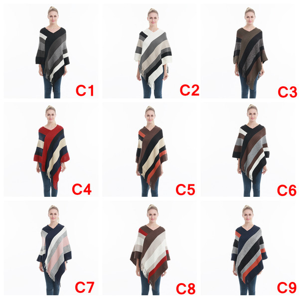 Женщины полосатый кисточкой пончо свитер вязать шарф обернуть свободные Шаль старинные шарфы плащ пальто девушки зима теплая домашняя одежда AAA1079