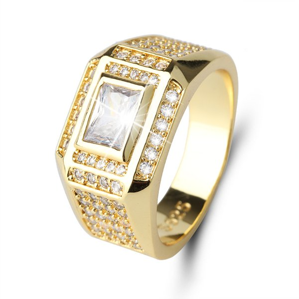 Fashion Punk Style Luxury Filled Gold Color Men Jewelry with CZ Crystal Wedding Bands Rings for Male Anel Lovers Birthday&Party