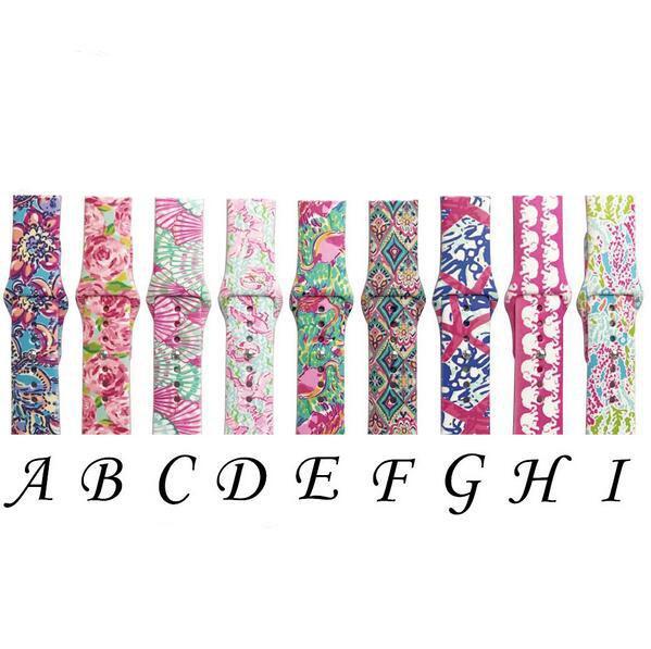 9 design per cinturini di ricambio Apple Watch Lilly ispirato Pulitzer silicone 38mm 42mm cinturino cinturino di lusso cinturino per donna ragazza uomo