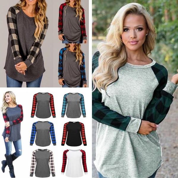 Новая весна и осень горячий новый с длинными рукавами вокруг шеи решетки рукав шить женская мода футболка 13 цвет домашней одежды BAB66