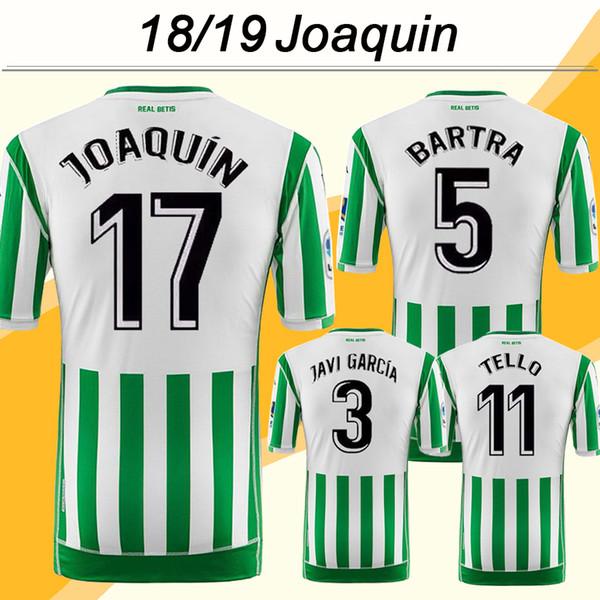 2018 19 Camisetas de fútbol REAL BETIS de BARTRA JOAQUIN TELLO Inicio Camisetas de fútbol para hombre CANALES SANABRIA BOUDEBOUZ WILLIAM Manga corta