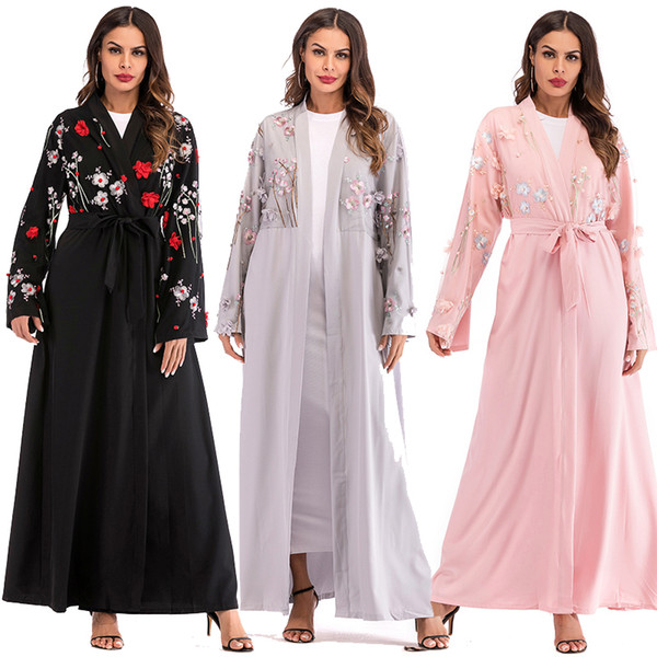 Abaya Dubai Floral Mesh Kimono Long Mujer 2018 Kawaii Boho Muslim Hijab Cardigan Dresses Robe Kaftan Turkish Islamic Clothing