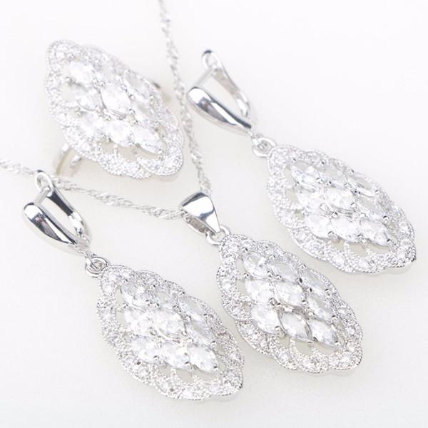 Set di gioielli in argento 925 per le donne Orecchini con ciondolo in oro bianco con zirconi Anelli con pietre e gioielli Nereids Free Box