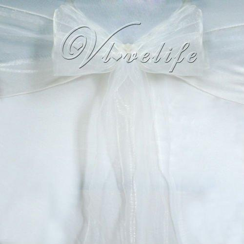 Wholesale-Free shipping by DHL or EMS 100PCS White Organza Chair Sashes Bow Cover Banquet wedding party decorations