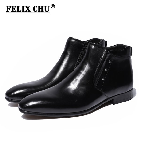 FELIX CHU 2018 New Genuine Leather Men Ankle Boots High Top Zip Dress Shoes Black Yellow Rubber Sole Male Footwear #36700-7