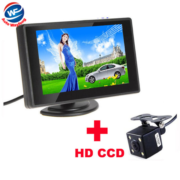 Waterproof 420TVL 2.8mm 170 Lens Angle CCD Car Rearview Parking Camera With 4.3 Inch TFT LCD Monitor For Reversing Backup Cam