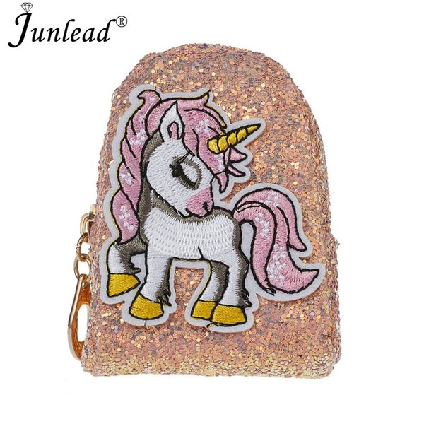 Junlead 2018 Sparkly Sequins Female Pink Horse Coin Purse Pocket Change Wallet For Girl Key Chains Cute Fashion Card Coin Purse
