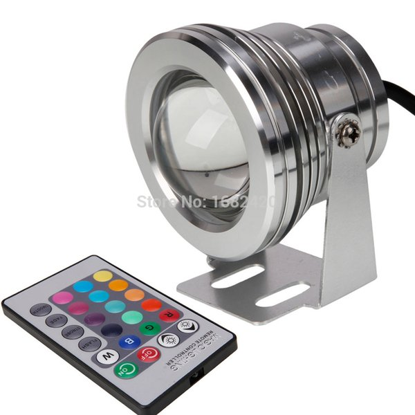 Waterproof IP65 12V Input 10W LED Spotlight yellow red green blue RGB with remote control swimming fountain pool light