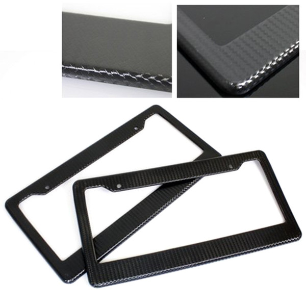 2x Car Licence Plate Covers Slim Carbon Fiber Painted Twill License Plate Frame Design Shiny Surface For US Canada Vehicles
