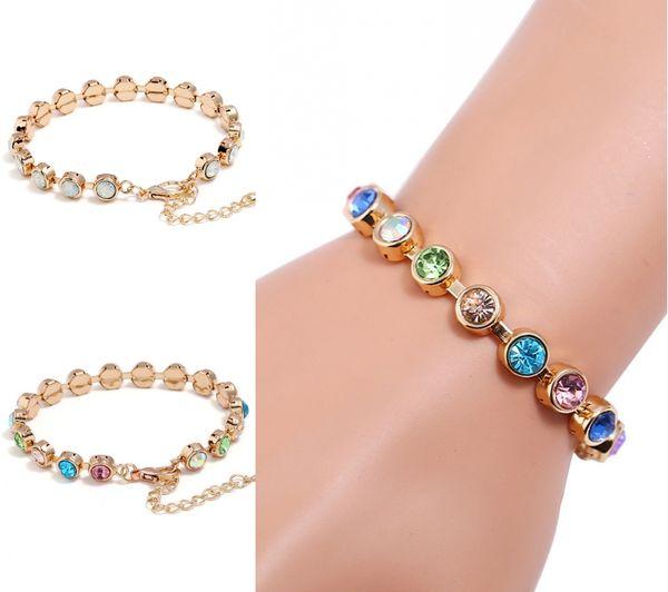 Fashion 2 Colors Charm Roman Bracelets Colorful Crystal Diamond Tennis Bracelet Bangle Wedding Bridal Jewelry For Women Girls Gifts H411R