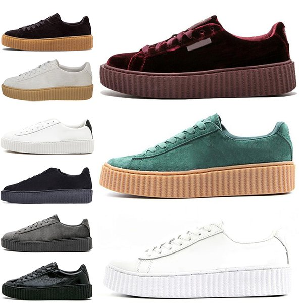 best loved 5d2ac fecaf 2019 Rihanna Fenty Creeper Cleated Cracked Leather Suede Velvet Basket  Platform PUMO PUM Outdoor Shoes Athletic Casual Shoes Sneakers 36 44  Discount ...