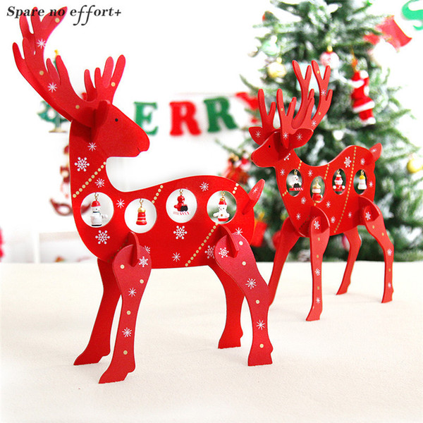 Home Office Kindergarten Christmas Decorations Wooden DIY Elk New Year Birthday Gifts Wood Red Reindeer Xmas Decor Ornaments
