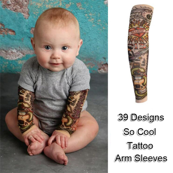 Kinder Arm Ärmel 39 Designs 2 Stück / Paar Nylon elastische Tattoo Arm Ärmel 3D-Druck Fake Tattoos Arm Abdeckung Tattoo Arm Strümpfe LA776