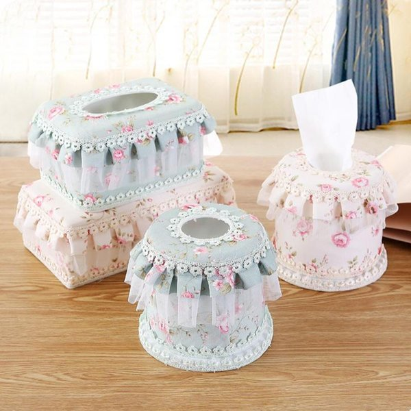 Paper Rack Elegant Coffee House Lace Tissue Box Holder Floral Napkin Roll Paper Box Fabric Holder Household Articles F3-23L