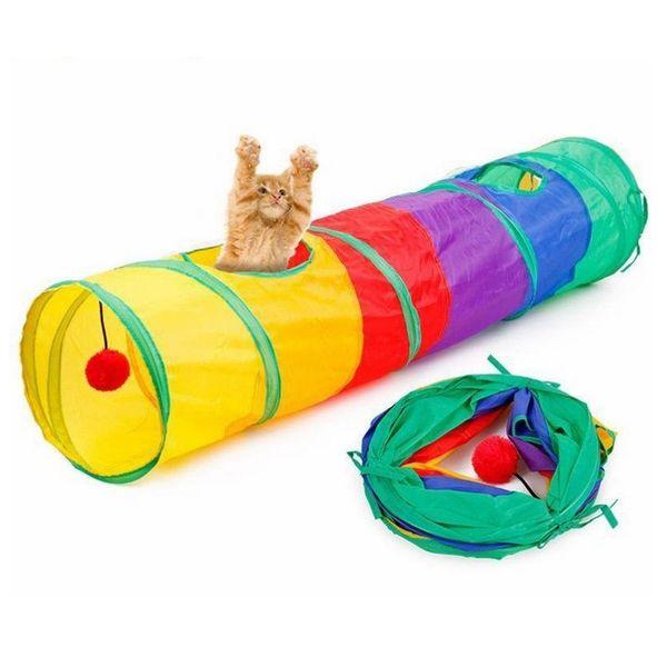 115 * 25 cm colorido plegable gato mascota jugar túnel gato tienda al aire libre juego jugar juguete 2 agujeros con bola AAA857