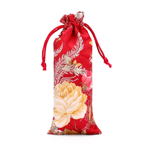 New Lengthen Chinese Fabric Gift Bag Floral Combs Jewelry Silk Brocade Pouch Small Drawstring Bags for Packaging 7x18 cm 3pcs/lot