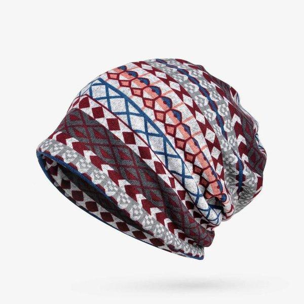 Winter Hats For Women Turban Hat Female Plaid Stripe Pattern Hat Thick Warm Velvet Hats For Men Knitted Cap Beanie New