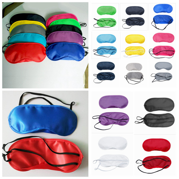 best selling Sleeping Eye Mask 13 Colors Polyester Eye Cover Breathable shading Eyeshade Travel Eye patch Sleep MaskAAA1427