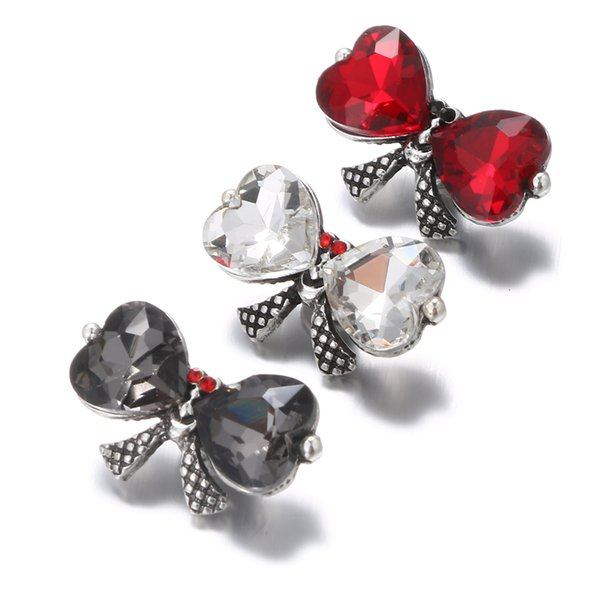 Cute Bowknot Snap Button Noosa Crystal Bow Ginger 18MM Snap Buttons DIY Snap Bracelet Necklace Findings Jewelry