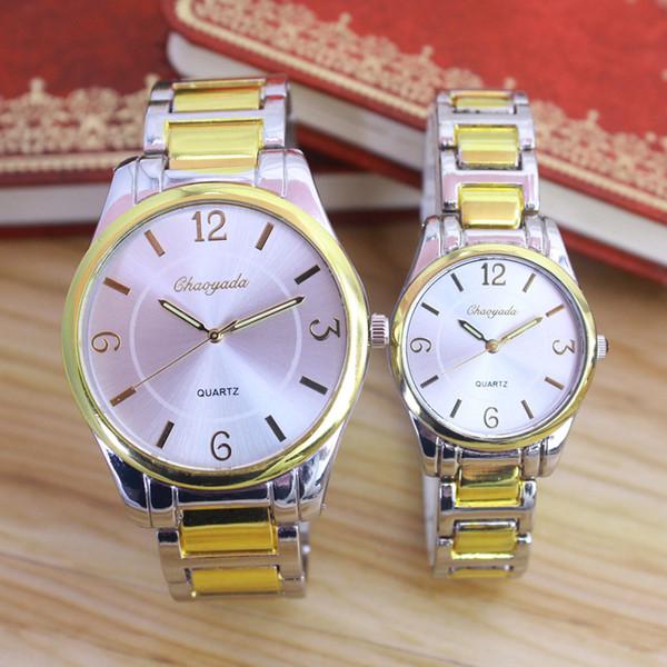 2018 nuevas mujeres hombres amantes de las parejas relojes de pulsera de cuarzo de acero inoxidable vestido de negocios contrato de lujo oro relojes a prueba de agua