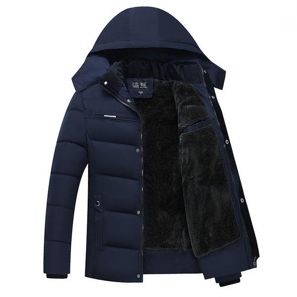 Mens Casual Winter Jacket coat Men Fleece Standard Collar Solid Down Parkas Hot Sale Overcoat Rib Cuff Warn Cotton Think Padded