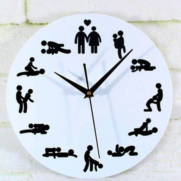 2016 New Modern Sex Position Clock Novelty Silent Wall Clock For Wedding Lover Sexual Culture Wall Watches Home Decor