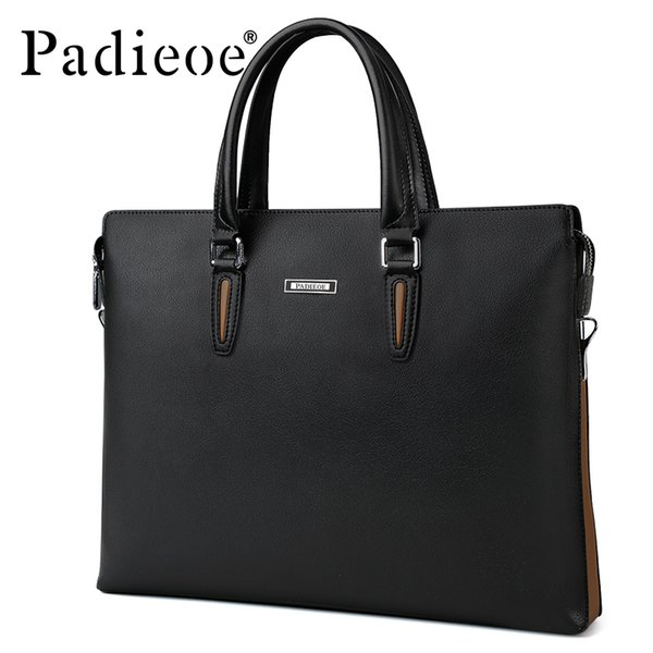 Padieoe Famous Brand 2017 Business Man's Bag Male Briefcase Leather Large Office Bags for Men Fashion portfolio bags with Handle