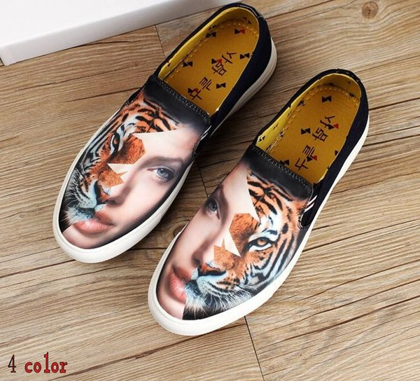 High-end spring and summer canvas shoes, American and European fashion shoes, low help, printed shoe party casual shoes H93.