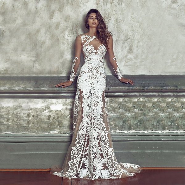 High Quality Sexy Dress Fitted Lace Wedding Dress Sweetheart Illusion Neckline Deep V Open Back with Zipper Fit and Flare Wedding Dress
