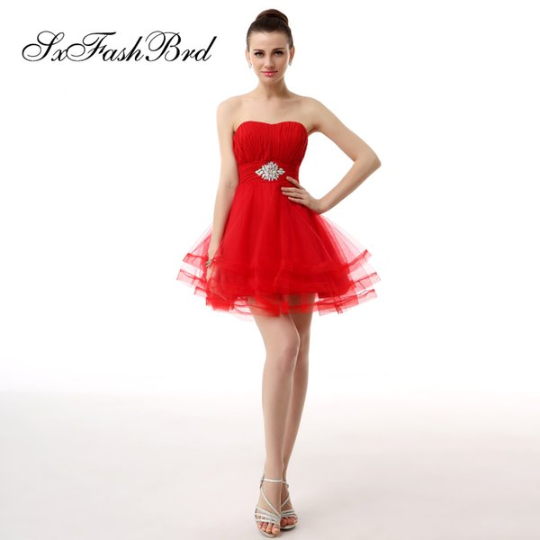 Fashion Elegant Simple Sexy Sweetheart Mini Short A Line Red Tulle Party Formal Evening Dresses Women Prom Dress