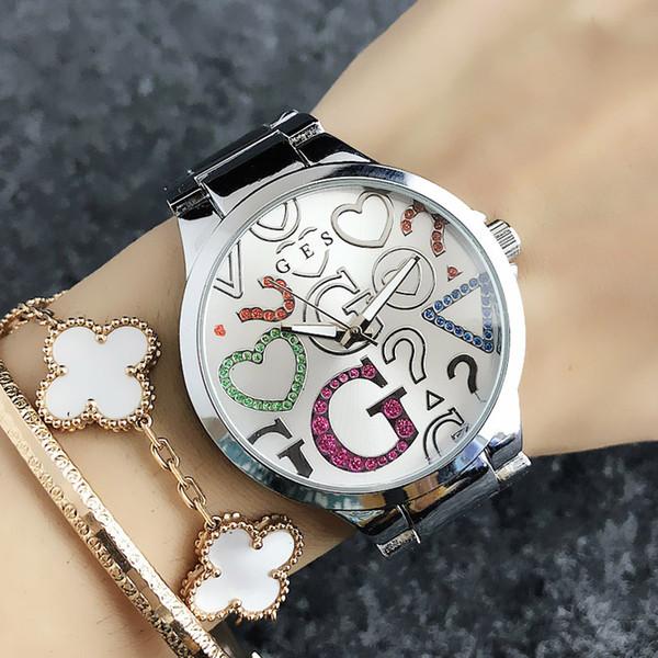 Reloj de la manera Relojes de marca para las mujeres de la muchacha de colores de cristal G grande de estilo de línea de acero banda de metal reloj de cuarzo GS 7155